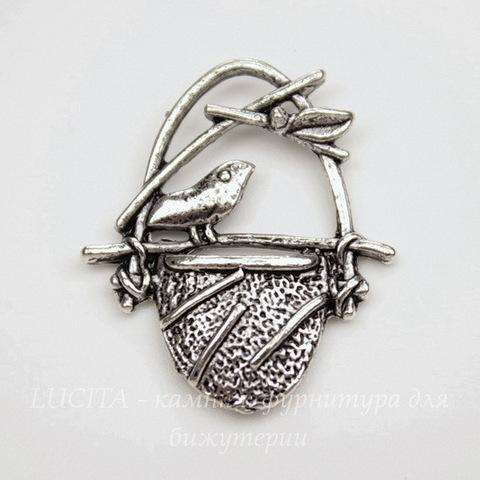 """Подвеска """"Птичка в гнезде"""" (цвет - античное серебро) 22х20 мм"""