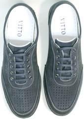 Темно синие туфли мужские повседневные кроссовки  Vitto Men Shoes 3560 Navy Blue.