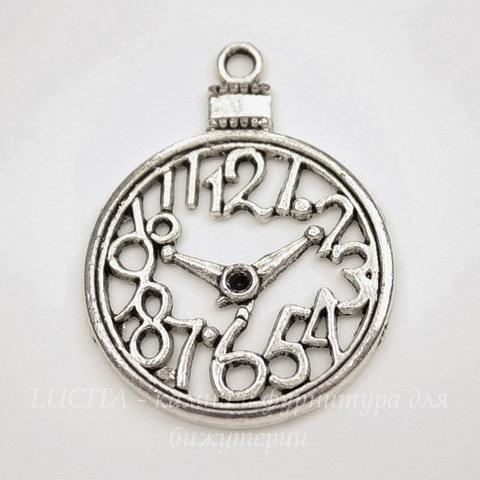 """Подвеска """"Часы"""" 39х30 мм (цвет - античное серебро)"""