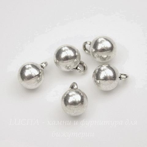 """Подвеска """"Гирька"""" (цвет - античное серебро) 8,5х6 мм, 5 штук"""