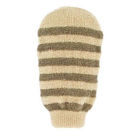 Массажная полосатая мочалка-варежка из органического хлопка и органического льна Förster's