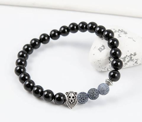 Мужской браслет «Лев» из африканского агата. «Boroda Design»