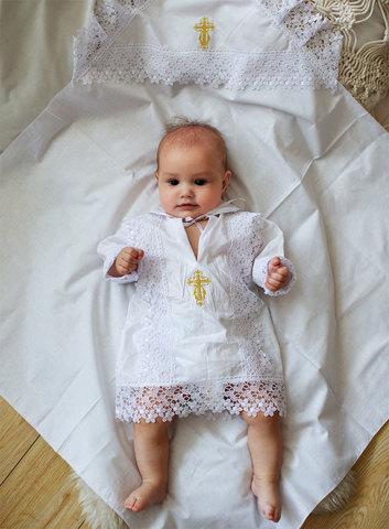 Папитто. Крестильный набор для мальчика (рубашка крестильная, пеленка)