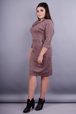 Ева. Платье в деловом стиле плюс сайз. Шоколад.