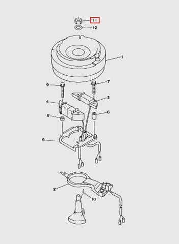Гайка маховика для лодочного мотора T15, OTH 9,9 SEA-PRO (8-11)