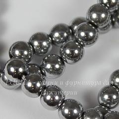 Бусина Гематит магнитный (искусств., категория AA), шарик, цвет - серебристый, 6 мм, нить