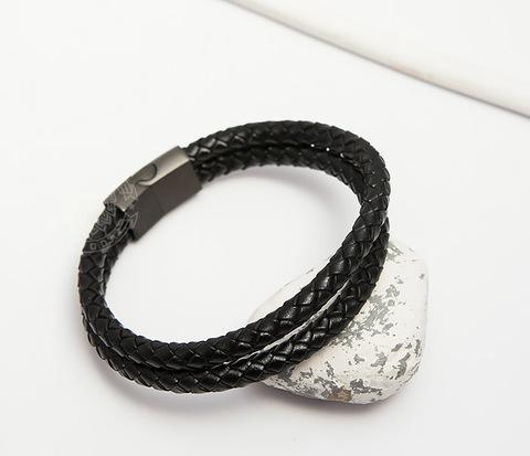 Мужской браслет из кожаных шнуров на застежке (21 см)