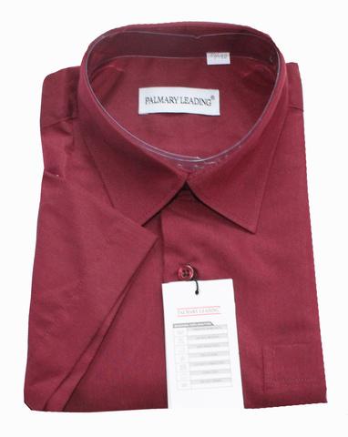 Palmary Leading Рубашка для мальчика школьная короткий рукав бордовая
