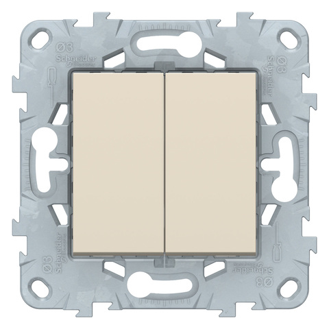 Выключатель двухклавишный. Цвет Бежевый. Schneider Electric Unica New. NU521144