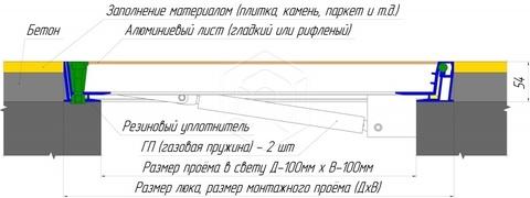 Люк напольный Универсал Люкс Лайт (с амортизаторами)  900х 900