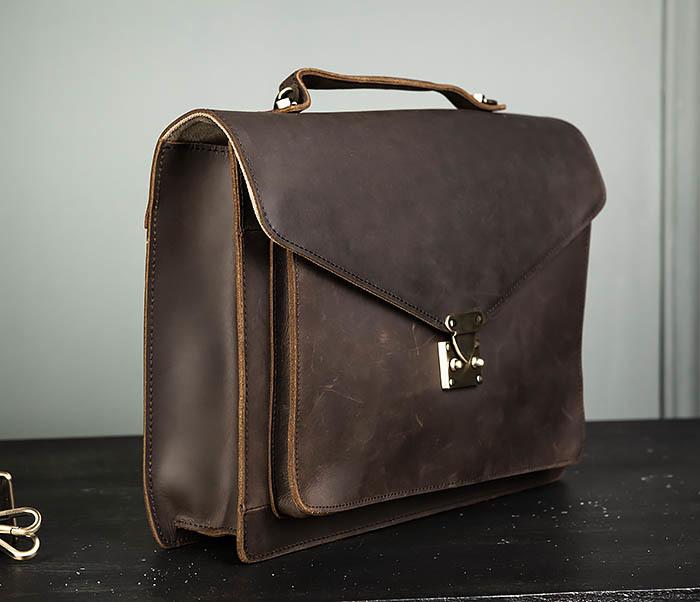 BAG471-2 Мужской портфель из толстой кожи фото 03