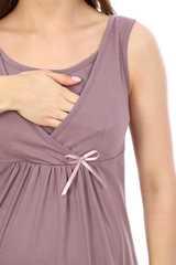 Мамаландия. Комплект для беременных и кормящих с отрезной кокеткой, горох/коричневый вид 5