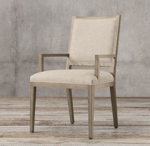 French Contemporary Square Fabric Armchair