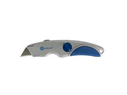 Нож технический КОБАЛЬТ трапециевидные лезвия 19 мм (3 шт.), металлический корпус, блистер