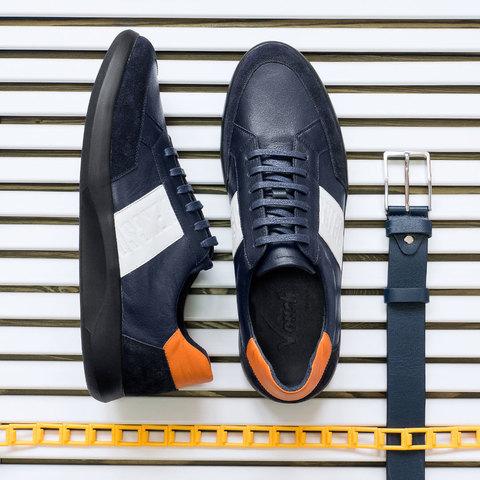 Мужские кожаные кроссовки на шнурках