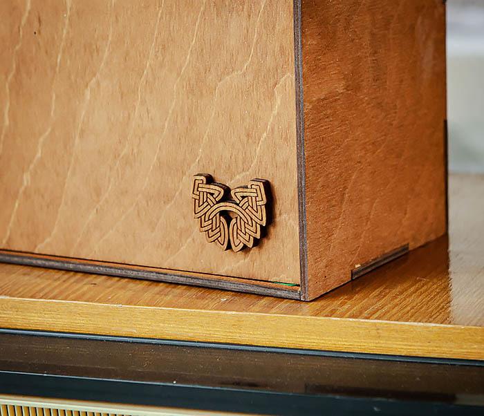 BOX235-2 Деревянная коробка для подарков с двумя отделениями (25*25*12 см) фото 03