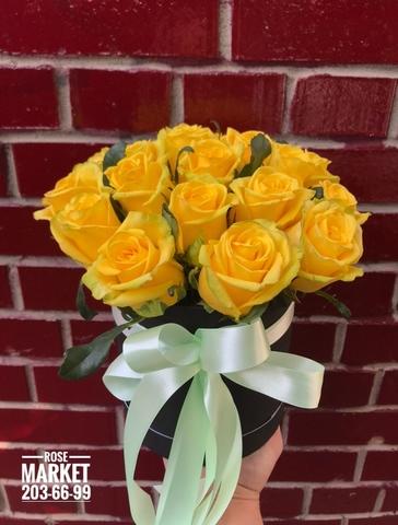 15 желтых роз в шляпной коробке #20331