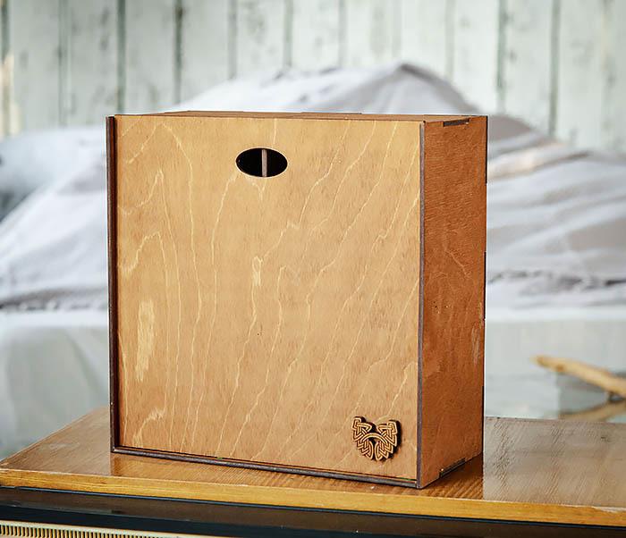 BOX235-2 Деревянная коробка для подарков с двумя отделениями (25*25*12 см) фото 04