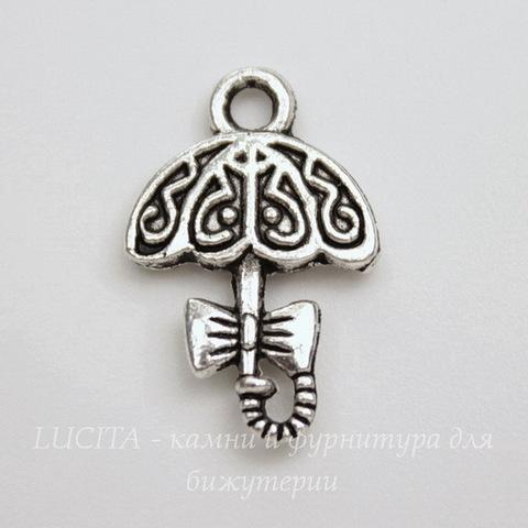 """Подвеска  """"Зонтик"""" (цвет - античное серебро) 19х13 мм"""