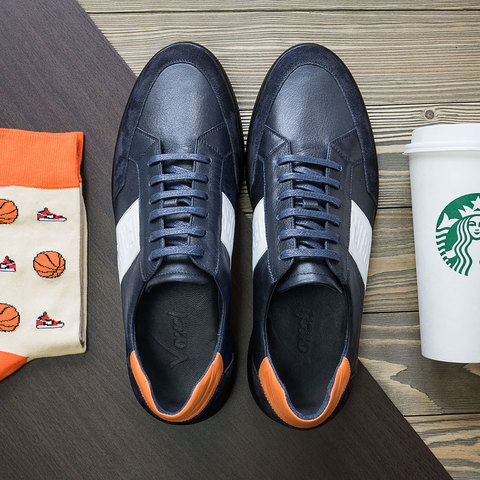 Мужские кожаные кроссовки с удобной колодкой