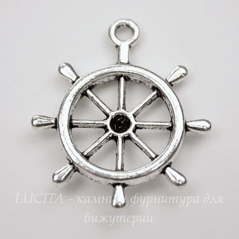 """Подвеска """"Штурвал"""" (цвет - античное серебро) 28х24 мм"""