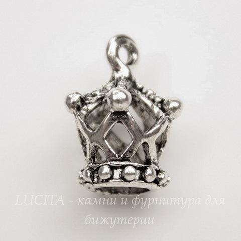 "Подвеска 3D ""Корона"" 18х14 мм (цвет -  античное серебро)"