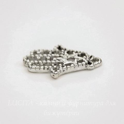 """Подвеска """"Ладонь  Хамса"""" филигранная (цвет - античное серебро) 22х16 мм"""