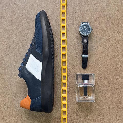 Комбинированные кожаные кроссовки