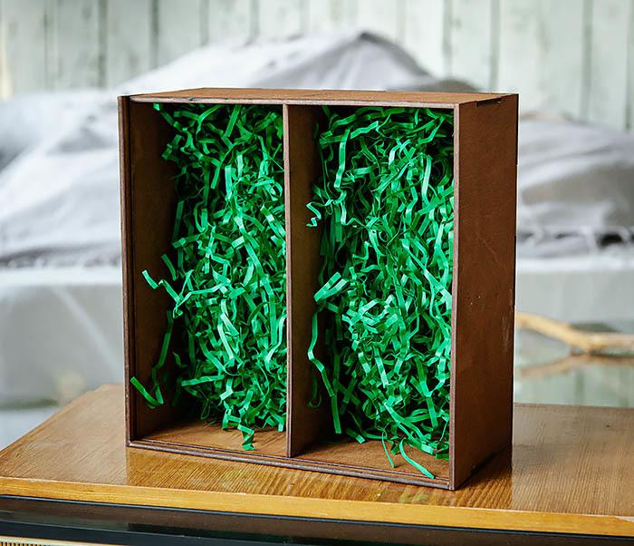 BOX235-2 Деревянная коробка для подарков с двумя отделениями (25*25*12 см) фото 07