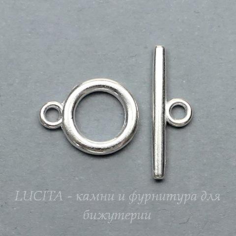 Замок - тоггл из 2х частей (цвет - серебро) 14х11 мм , 19х6 мм