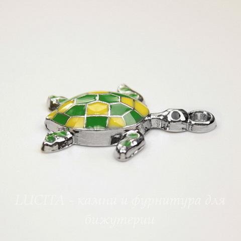 """Подвеска с эмалью """"Черепашка"""" 28х24 мм (цвет - никель)"""