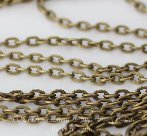 Цепь (цвет - античная бронза) 3х2 мм, примерно 10 м