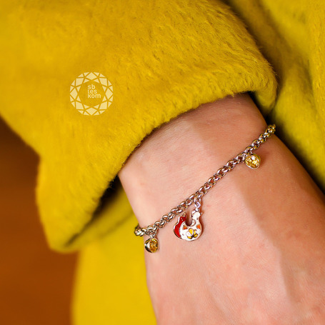 Браслет из серебра с эмалью с жёлтыми и красными фианитами