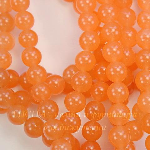 """Бусина Жадеит (тониров), шарик, """"Персиковый сок"""", 10 мм, нить"""