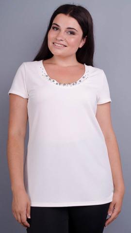 Дона. Жакет+блуза для женщин больших размеров. Молоко.