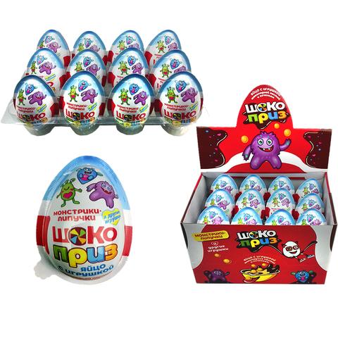 Яйцо с игруш. шок.пастой и печеньем ШОКОПРИЗ (монстрики-липучки) 1кор*12бл*24шт 12гр.
