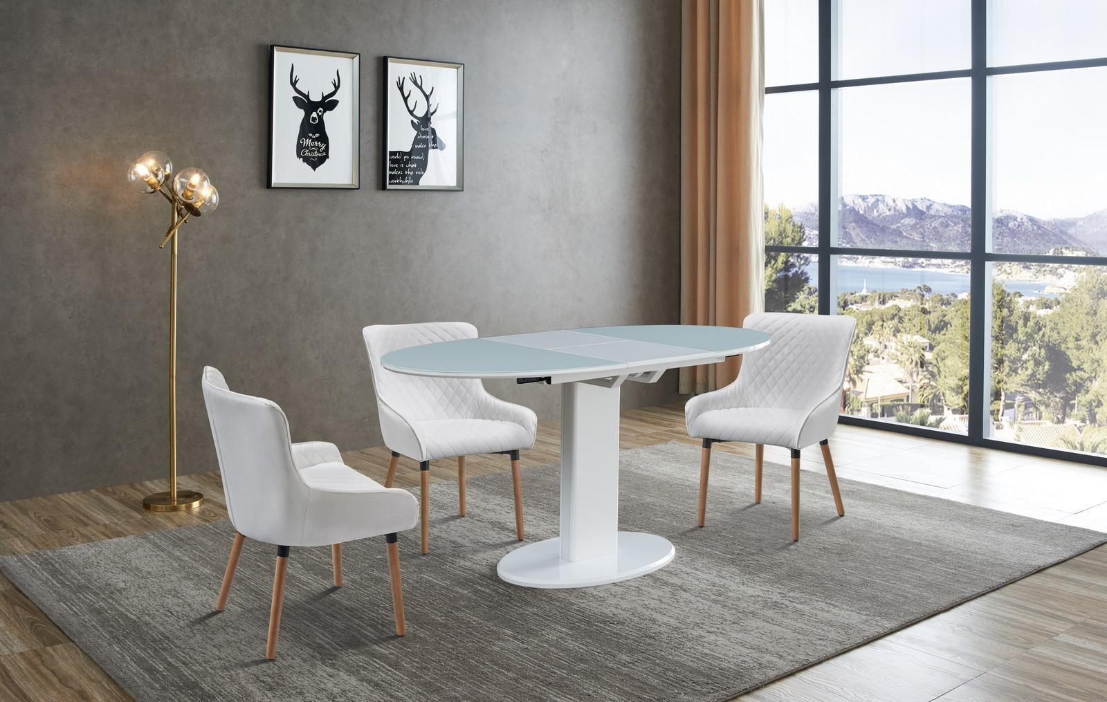 Стол B2396 белый (овальный) и стулья 9-19M WHITE