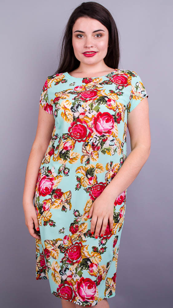 Аріна літо принт. Прінтована сукня плюс сайз. М'ята+квіти.