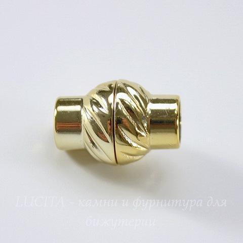 Замок для шнура 6 мм магнитный из 2х частей, 17х12 мм (цвет - золото)
