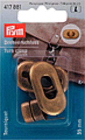 Поворотный замок для сумки Prym  35мм (цвета состаренной латуни) (Арт. 417881)