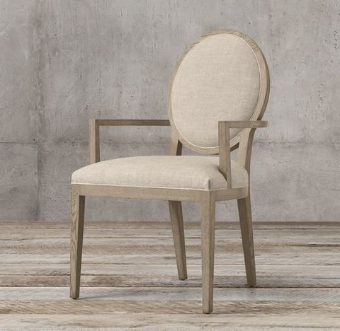 French Contemporary Round Fabric Armchair