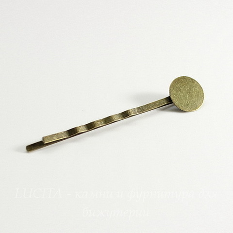 Основа для заколки - невидимки с площадкой 12 мм, 60 мм (цвет - античная бронза)