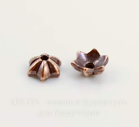 "Шапочка для бусины TierraCast ""Talavera Star"" (цвет-античная медь) 6х5х2 мм"