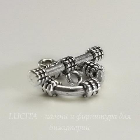 """Замок - тоггл из 2х частей """"Кольцо"""" (цвет - античное серебро) 19х15 мм , 20х7 мм"""