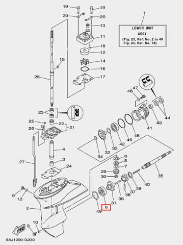 Подшипник шестерни перед. Хода для лодочного мотора F20 Sea-PRO (23-8)