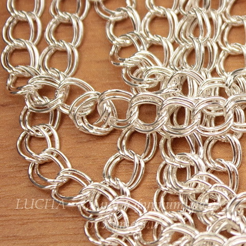 Цепь двойная (цвет - серебро) звено 5х6 мм, примерно 4 м