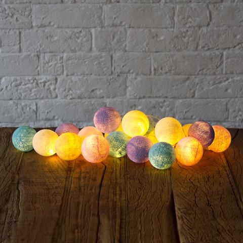 Гирлянда из хлопковых шариков Хэлоу, пастель!