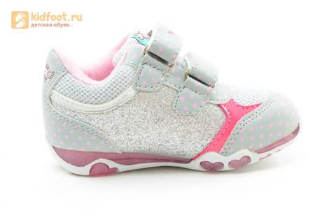 Светящиеся кроссовки для девочек Хелло Китти (Hello Kitty) на липучках, цвет серый, мигает картинка сбоку. Изображение 4 из 15.