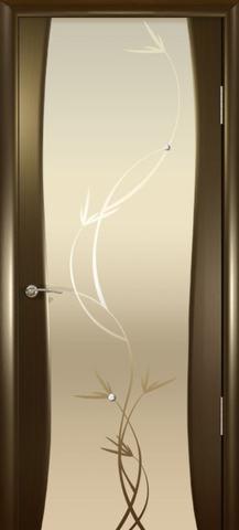 Дверь Океан Гламур Буревестник-2, стекло белое с рисунком, цвет венге, остекленная