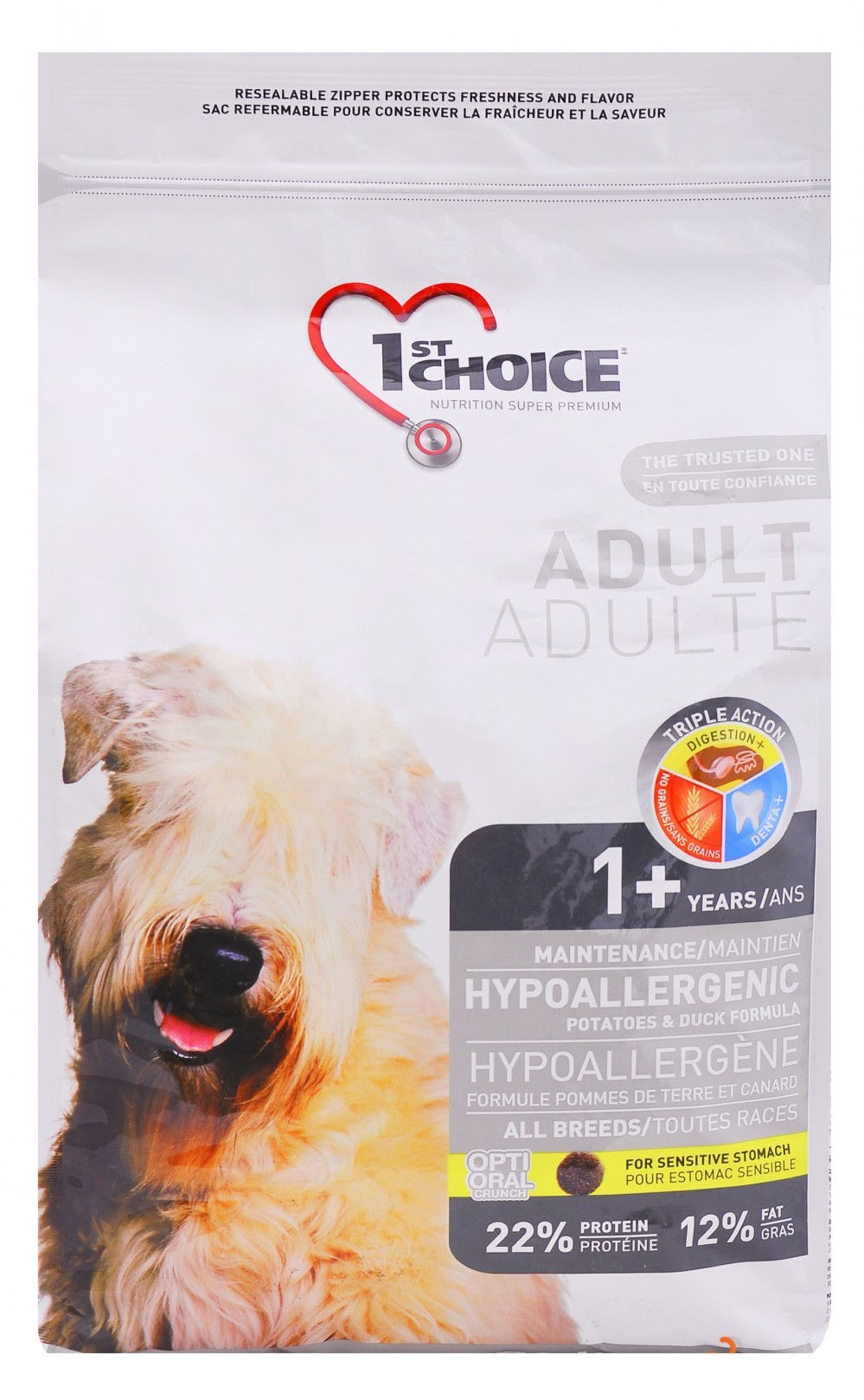 1st choice adult hypoallergenic корм сухой для собак гипоаллергенный утка с картофелем 2,72 кг. (102.323)